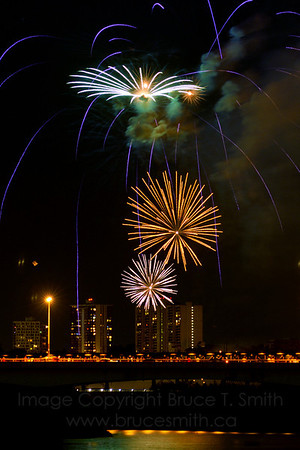 Beautiful blue, white and gold fireworks