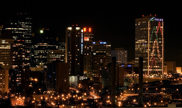 Edmonton Skyline at night just before Christmas