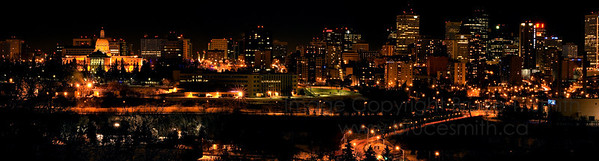 Edmonton downtown panorama at night