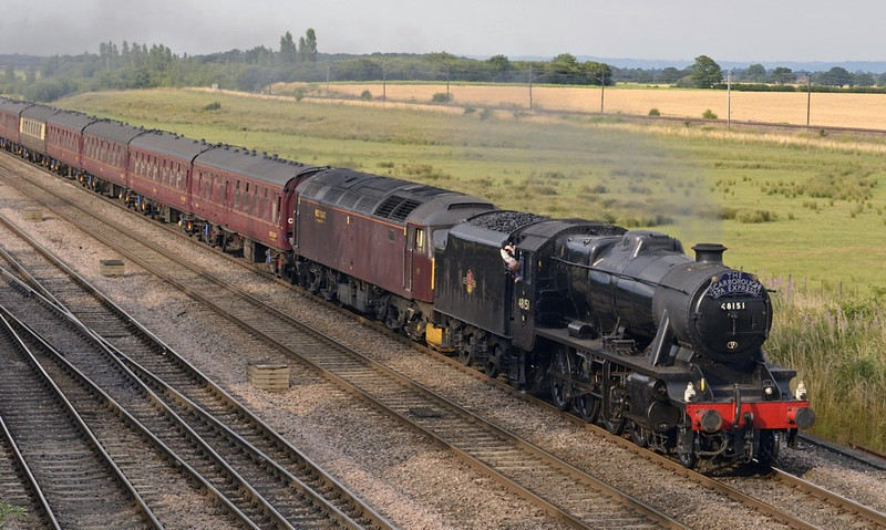 48151 & 47760, 1Z38, Colton Junction, Thurs 25 July 2013 - 1831.  The return leg of WCRC's Scarborough Spa Express leaves York for Normanton and Wakefield.  47760 was attached because of fire risk.