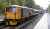 73201 Broadlands & 73212 Fiona, East Grinstead, Mon 13 October 2014 - 1444.  The railhead treatment train departs.  The KFA wagons were 9310 007 & 001.