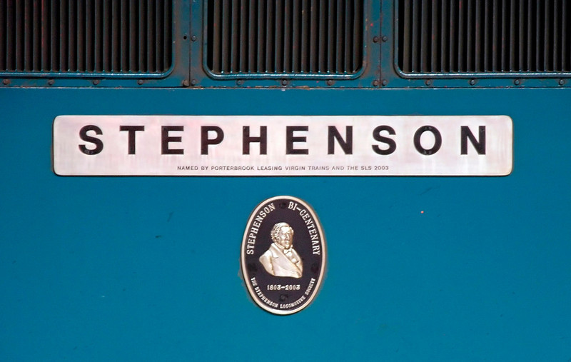 87001 Stephenson, Euston, 13 May 2005 - 1425 2.  The cameo of George S was a recent addition to 87001.