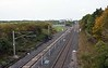Merchant Park Junction, Newton Aycliffe, Tues 26 September 2017 2.  Looking north towards Heighington and Shildon.  The line into the Hitachi plant curves to the left.