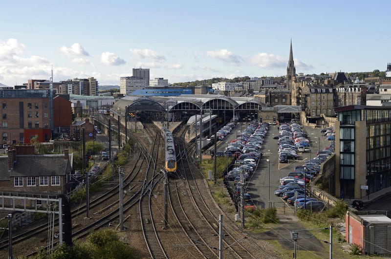 Newcastle station, Wed 9 October 2013 - 1331.  The classic view from the castle keep as a Cross Country Voyager enters the station.