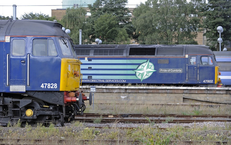 47828 & 47802 Pride of Cumbria, Norwich, Sat 31 August 2013 - 1800.  47828 was still on the short set.  47802 had been detached from the Retro Railtours' Crewe - Yarmouth Fenland Explorer after failing between Ely and Norwich.