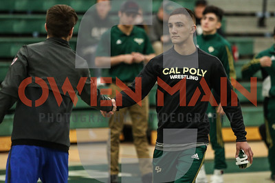 Cal Poly Wrestling hosted Air Force Academy on Senior Day. Photo by Owen Main 2/10/19