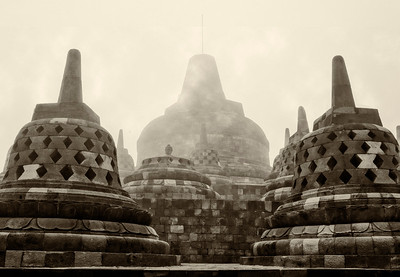"""Borobudur. Fog. 20""""x14"""""""