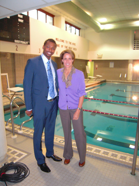 Cullen Jones with Mary Carillo