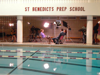 Lights, Camera, Action! Carillo interviewing Cullen Jones and his mother, Debra