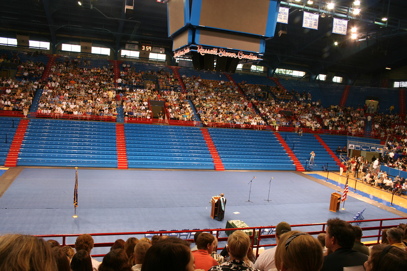 Allen Field House all set up for the graduates.