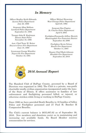 100 Club of DuPage County - Valor Awards Ceremony - October 26, 2016