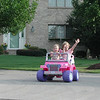 Olivia and Megan in Barbie jeep