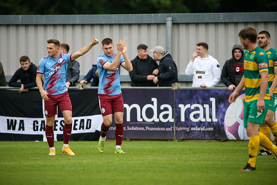 Cedwyn Scott celebrates making it 3-2 to Gateshead