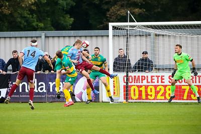Mathew Jacob heads a shot on goal for Gateshead