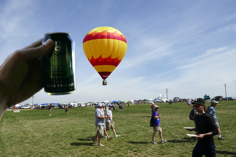 We ride a few miles over to Solartown, and toast their balloon.