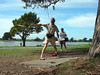 After lunch, it was time for disc golf down at Aquatic Park. Geoff tees off.