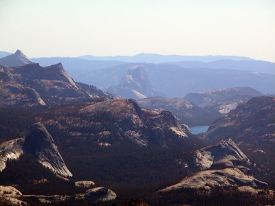 View from the top: Fairview dome, Tenaya Lake, Half Dome etc