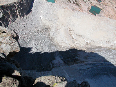 Looking straight down the NE side to the glacier