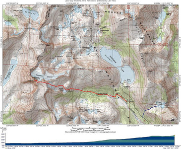 Topo map showing Mt Conness Climb as well as Gardisky Lake Hike