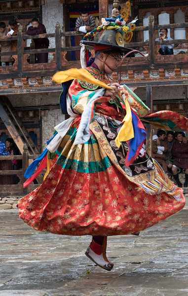Nimalung Tshechu, Bumthang, Bhutan. Yhe Dance of the Black Hats with Drums (Shanag Nga). This dance signifies the victory of religion over its enemies.
