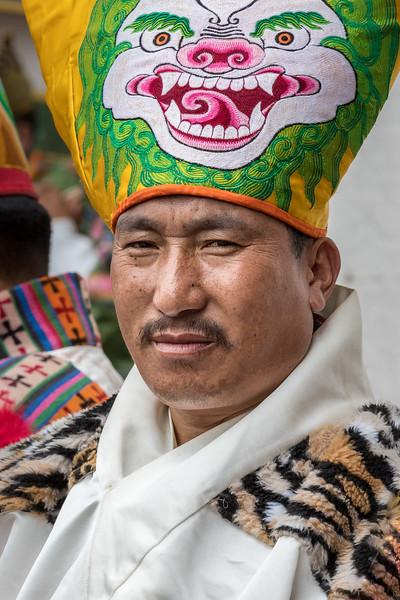 Kurjey Tshechu, Bumthang, Bhutan. A tshechu drummer.
