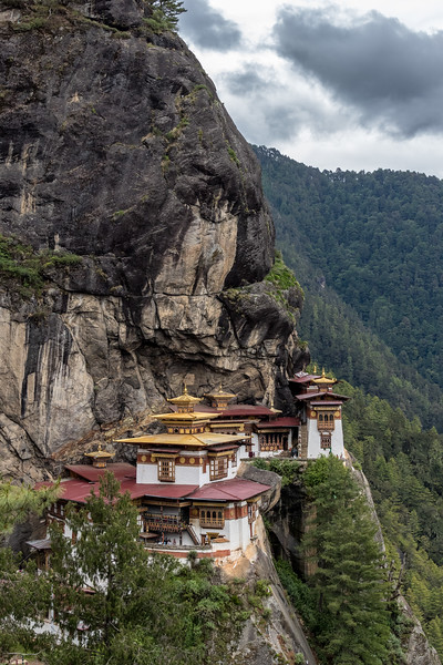 Taktsang, Bhutan. This is Bhutan's most famous monastery. Legend has it that Guru Rinpoche flew to the site of the monastery on the back of a tigress to subdue the local demons and then meditated here for three months. The day of our visit was an especially auspicious one for prayers at the monastery and the number of Bhutanese visitors was particularly high.