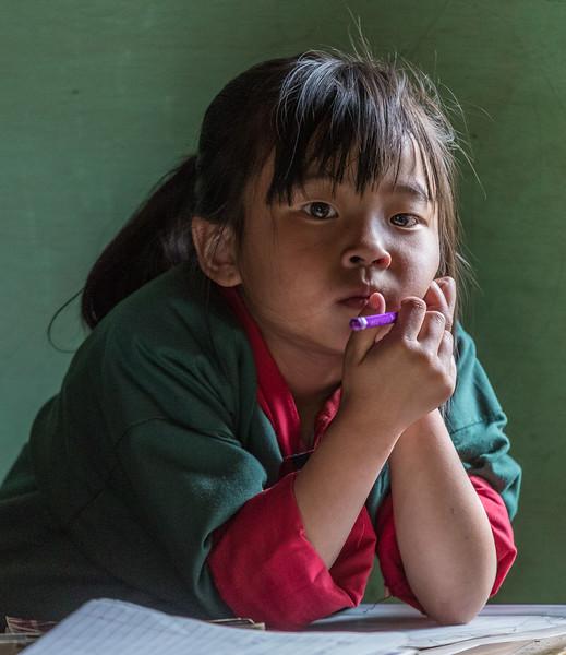 Bayta Primary School, Gangtey, Bhutan. A student pauses during her work.