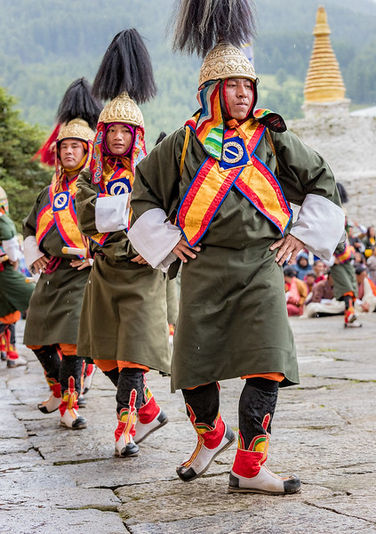 Kurjey Tshechu, Bumthang, Bhutan. Most tshechu dances are centuries old. This one commemorates the 2003 victory of the Bhutanese army over Indian insurgents. The battle was personally led by the fourth king.  The dance was originally performed at Dochula, where 108 chorten honor the fallen from that battle.