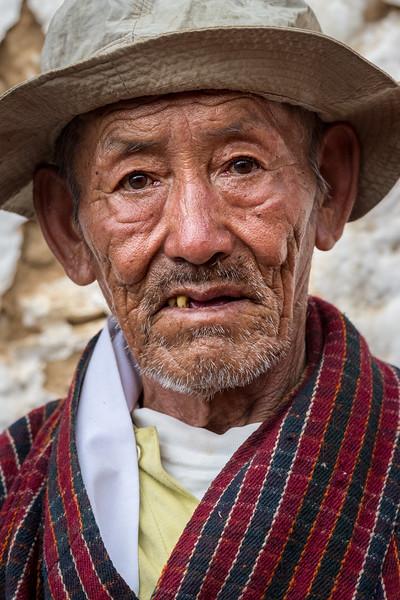 Kurjey Tshechu, Bumthang, Bhutan. A grizzled tshechu attendee.