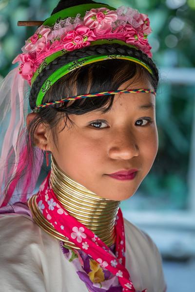 A Padaung Karen girl in the market village of Ban Mae Khao Tom, northern Thailand.