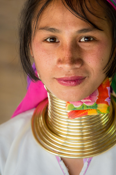 A young Padaung Karen woman in Chiang Rai Province, Thailand.