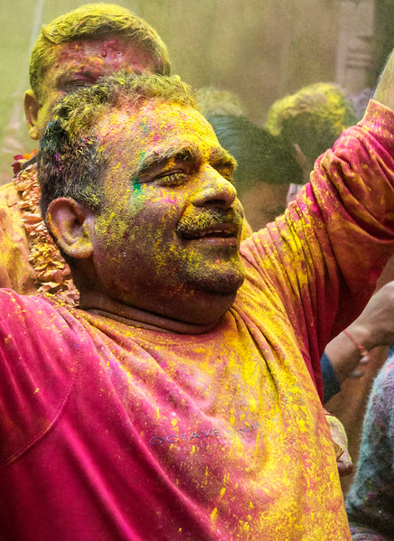 Vrindavan, India.  Holi is an annual Hindu festival that celebrates Lord Krishna. The festival is intensely spiritual – even blissful – for many participants, including this one. At the same time, Holi also is a riot of colorful fun, as celebrants throw and rub vivid powders and liquids on themselves and one another. Holi is celebrated all over India, but with special fervor in the Mathura area and in nearby Vrindavan, where these images were created.