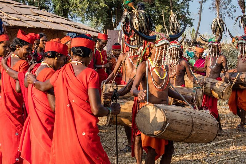Naener, Baster, Chhattisgarh, India. Bison Horn tribal dance.