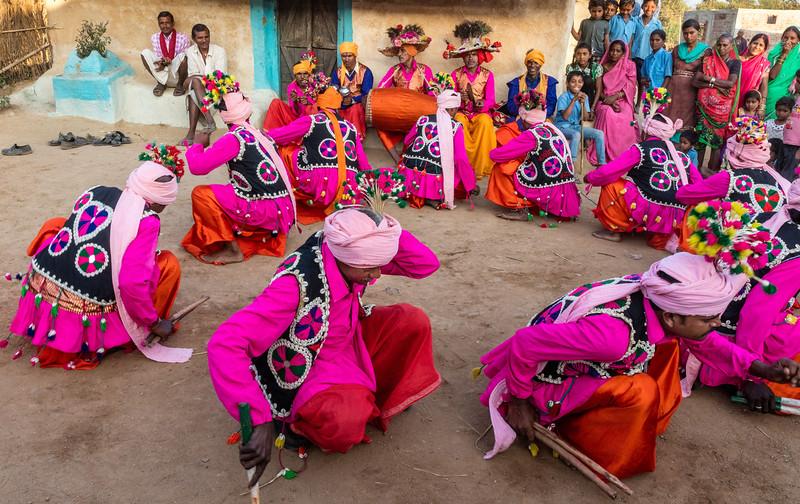 Lata, Bhoramdeo, Chhattisgarh, India. Villagers enjoy a dance moment.