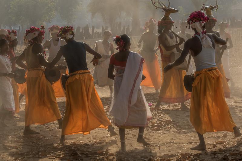 Bade Themali, Kanker, Chhattisgarh, India. Muria tribal dancers with their deer horn symbols.