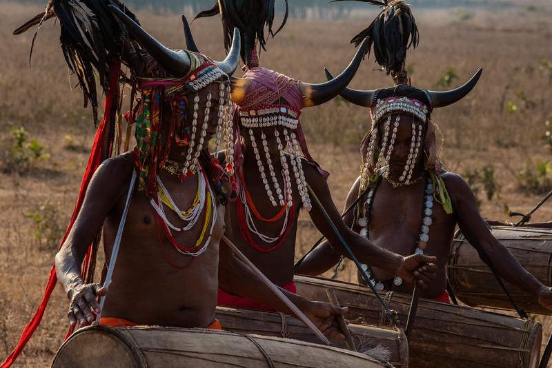 Naener, Baster, Chhattisgarh, India. Bison Horn dancers in action.