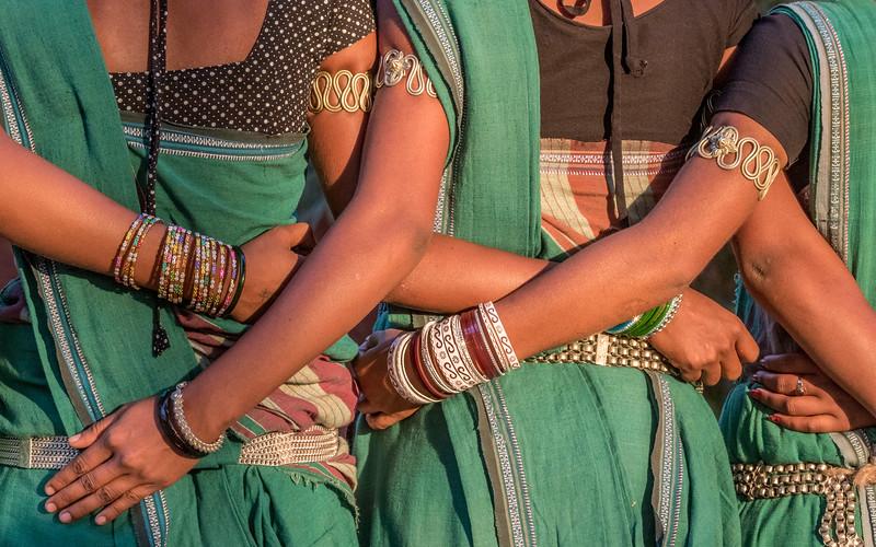 Kanker, Chhattisgarh, India. Gond women dancers, detail.