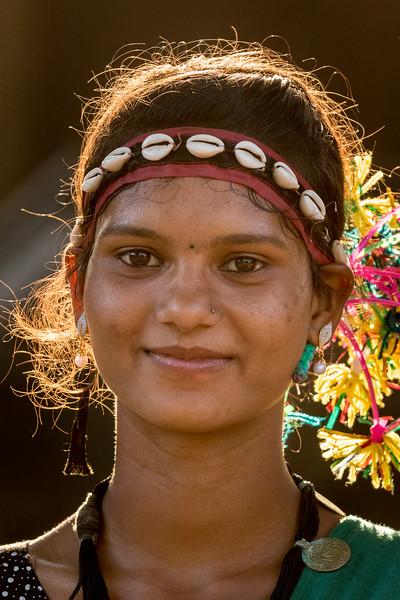 Kanker, Chhattisgarh, India. A Gond woman dancer.