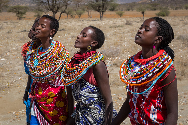Samburu National Reserve, Kenya. Samburu villagers.