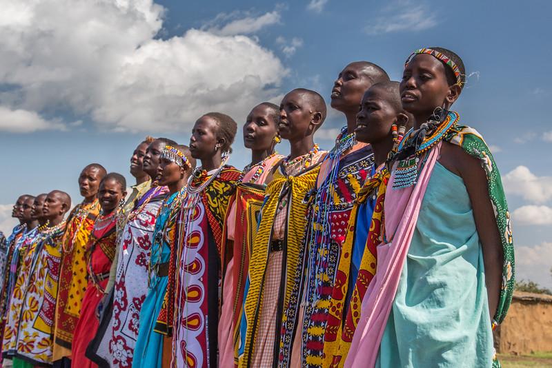 Masai Mara National Reserve, Kenya. Masai villagers.