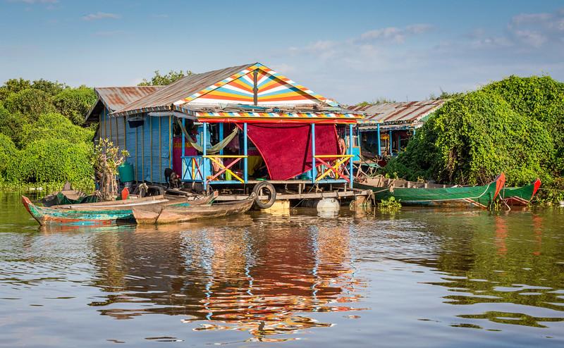 Tonle Sap Lake, Cambodia.  Floating homes on the edge of the lake.