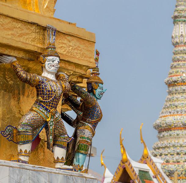 Bangkok, Thailand. Guardian demons (yakshas) at the Temple of the Emerald Buddha.