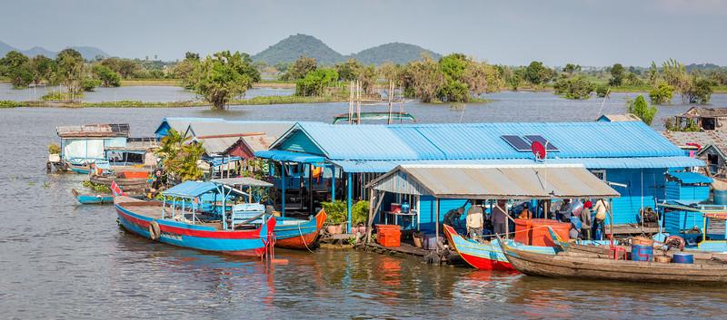 Tonle Sap Lake, Cambodia. A floating commerce center serves residents on the lake.