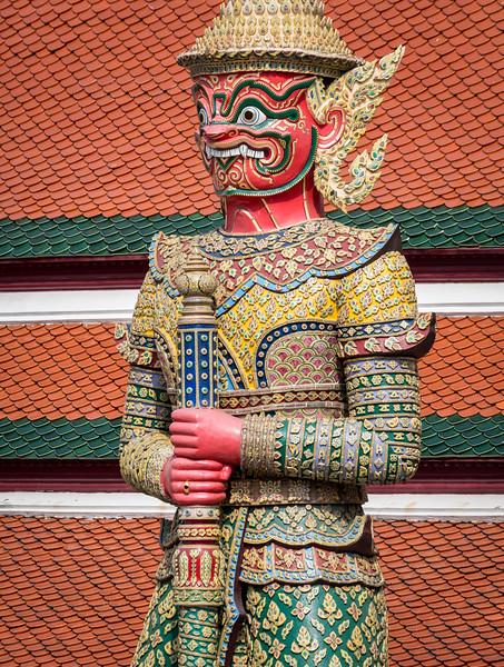 Bangkok, Thailand. Guardian demon (yaksha) at the Temple of the Emerald Buddha.