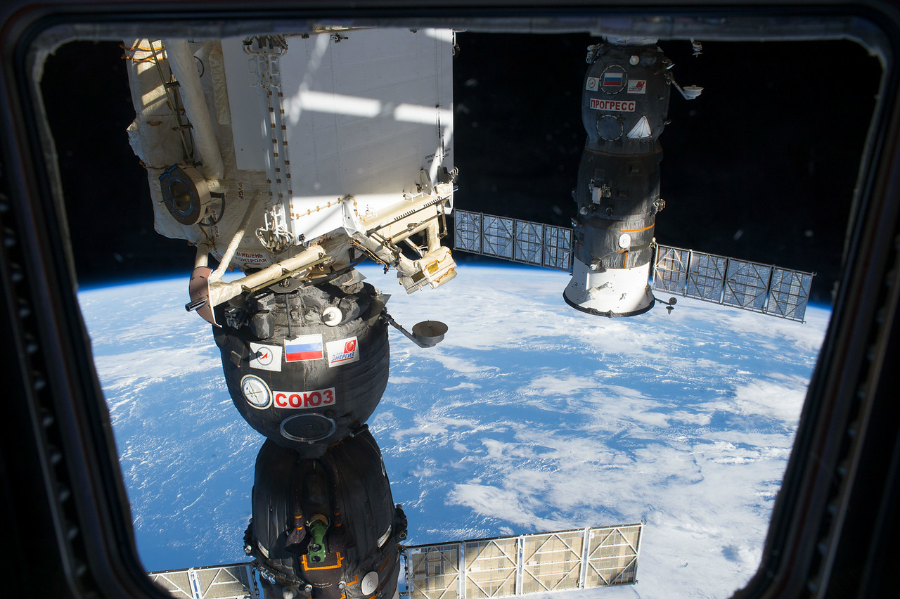 Reid Wiseman: I can't stop looking outside! The Soyuz @astro_alex @msuraev and I arrived on.