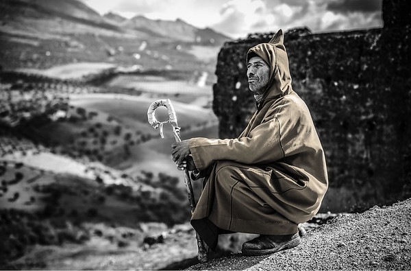 I meet a Berber atop the Tombs of the Merinids and kindly gives me a pose!  Outside Fez, Morocco