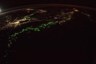 Fishing fleets (green lights) and Bangkok, Thailand