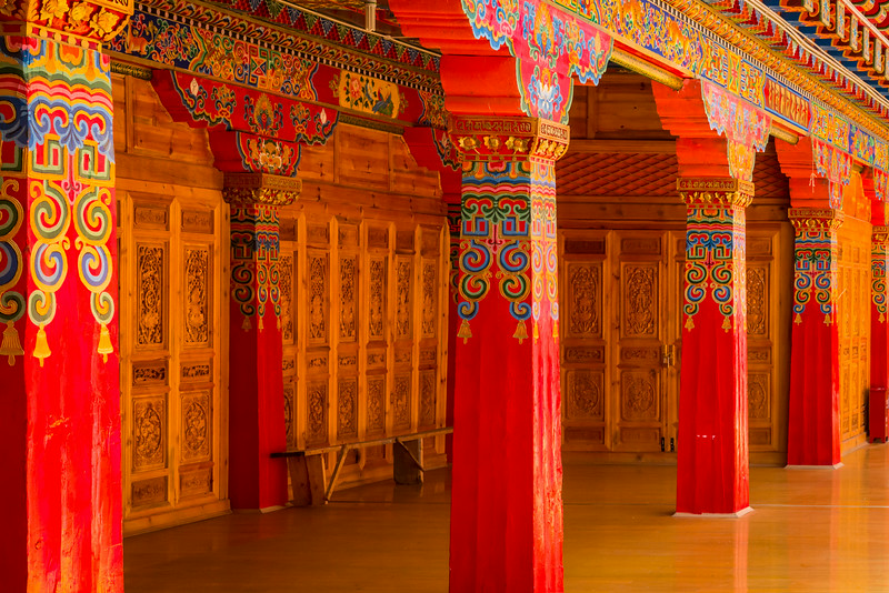 Ganden Sumtseling Monastery, Shangri-La, China: many of the inside halls are a riot of color.