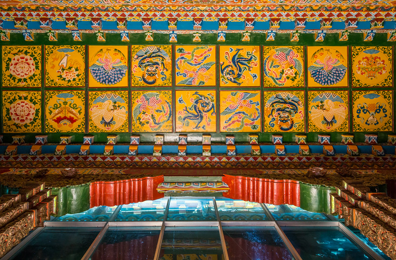 Ganden Sumtseling Monastery, Shangri-La, China: an elaborately painted ceiling.
