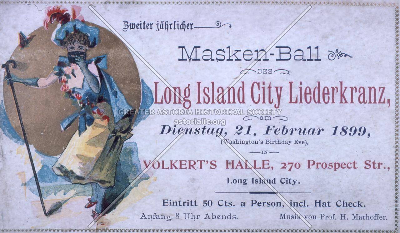 Long Island City Liederkranz Masked Ball 1899